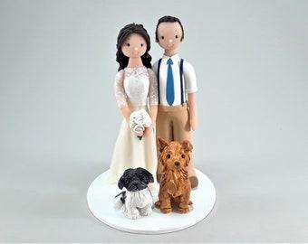 Bride & Groom with Dogs Custom Handmade Wedding Cake Topper