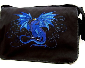 Dragon embroidery Inferno canvas messenger bag with artwork by Ruth Thompson