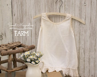 1900s Girls White Cotton Slip Dress - Antique Tatting Tatted Crochet Lace - Handmade - Edwardian - ShabbyFarmhouse  Cottage Country Chic