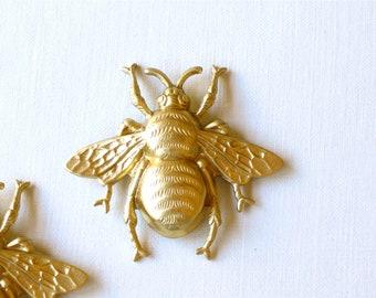 large brass BEE jewelry embellishment . 39mm x 42mm (FF42b)