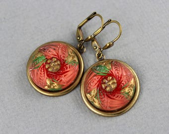 Peach and Gold - Czech glass button dangle earrings, repurposed, up cycled drop earrings