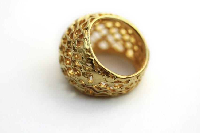 Gold Chunky RingUnique Big Bee Hive Statement ringOrganic