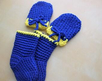 Simply Adorable U Navy Blue Crochet Baby Mittens and Socks,  Baby Socks, Crochet Mittens, Baby Mittens, Baby Gift Set, Crochet Baby Socks