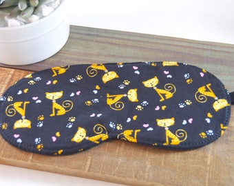 Adult Tabby Sleep Mask, Crazy Cat Lady Eye Pillow, Kitten Paw Fabric Friendship Gift, Unique Unisex Airplane Travel Present, Blindfold Kids