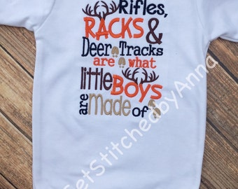 Rifles, racks and deer tracks, thats what little boys are made of, Boy's onesie