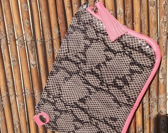 Clutch leather imitation python gray and pink