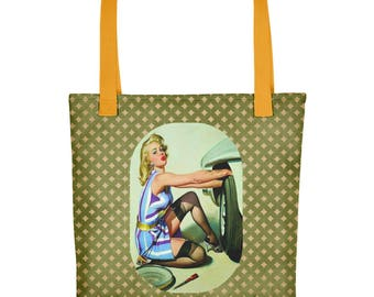 Retro Pin Up Working Girl Tote Bag Version 1 Personalized Custom Made for You
