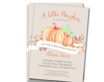 Little Pumpkin On the Way Baby Shower Invitation - customized and personalized - digital file