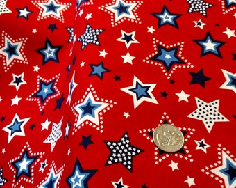 Red White & Starry Blue Large Star on Red by the Yard