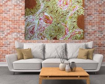 "HUGE original Painting - ""Burst of Sunshine"" - abstract acrylic painting - experimental - inventive techniqu"
