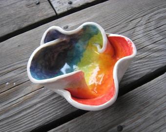 Little Rainbow Dish - Ceramic Ring Dish - Trinket Tray - Tea Bag Rest - Ceramics and Pottery - Cone Incense Holder - Small Sauce Dish