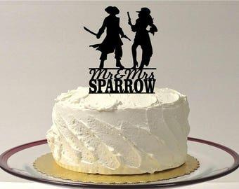 MADE In USA, Pirate Wedding Cake Topper, Personalized Pirates Wedding Cake Topper, Silhouette Pirate Wedding Cake Topper Bride and Groom