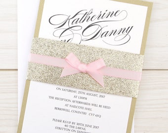 SAMPLE * Oscar Parcel with Glitter Belly Band and Bow Wedding Invitation