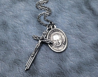 Saint Maximilian Kolbe and Three Bar Crucifix Necklace / Padre Kolbe Necklace for Men / Addiction Recovery Necklace / Drug Addiction