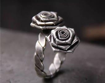 Handmade silver Rose ring
