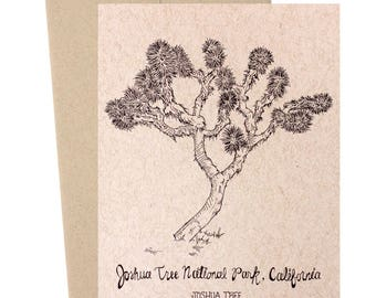 Joshua Tree, Joshua Tree National Park, California, National Parks Collection, Kraft Paper, Hand Illustrated, Nature Illustrations, Travel