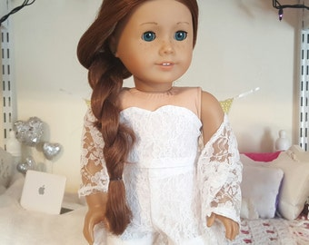18 inch doll 3 piece white lace bustier, shorts, and kimono