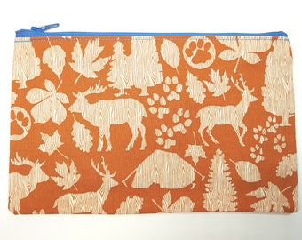 Woodland Creatures Fabric Zipper Pouch - orange/brown