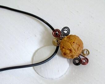 """Rudraksha Seed Necklace ~ Wire Wrapped Rudraksha Bead Necklace ~ Tibetan Rudraksha Necklace ~ Zen Jewelry - adjustable 16-19"""""""