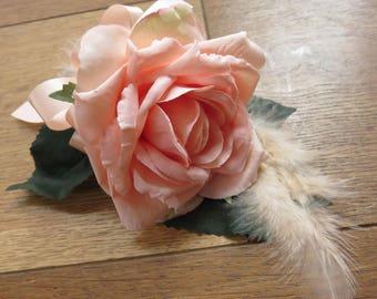 Peach Rose Wrist Corsage, Wedding, Prom, Anniversary.