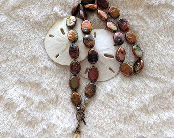coin pearl necklace, brown pearl necklace, pearl choker, taupe coin pearl, citrine, neutral, organic, brown pearls, unique, onyx