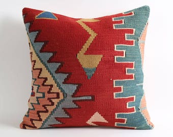 Red kilim pillows cover 20x20 vintage tribal handwoven pillow