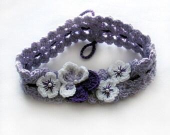 Crochet pansy headband,Crochet pansy hairband,Crochet lilac headband