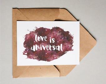 Universal Love Postcard | galaxy print, queer print, feminist postcards, love is love, feminist stationery, feminist postcard, equality