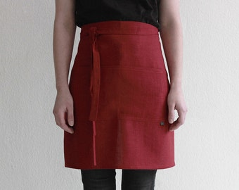 Red apron, Red linen apron, Short aprons, Half apron, Linen waist apron, Kitchen apron, Cook apron, Women's apron