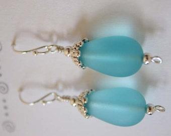 Aqua Blue Sea Glass Earrings, Beaded Earrings, Seaglass, Teardrop Earrings, Aqua Silver Earrings, Bead Earrings