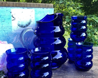Blue Pitcher Set/ Vintage Cobalt Blue Harpo Louie Glass Pitcher and Tumblers/ Vintage Pitcher/Harpo Marx 1930's Barware /Cobalt Glassware