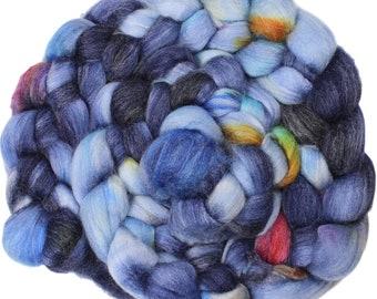 Blue Moon - hand-dyed superwash Merino, bamboo, nylon (4 oz.) combed top