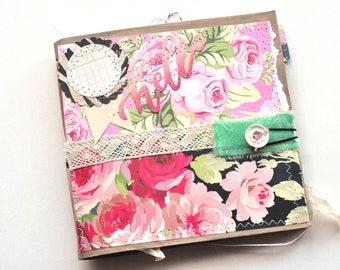 Handmade Junk Journal - Hello Roses - Upcycled - Journal - Adventure Book - Writing Diary - Art Journal