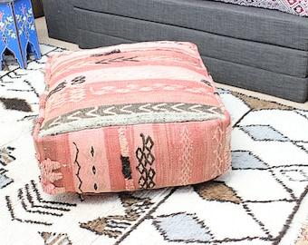 MOROCCAN KILIM POUF Pouffe Extra Large Floor Cushion Pillow Cover Handmade Handwoven 60 cm x 60 cm x 25 cm  / 25.6''x 25.6''x 10'' (KP19)