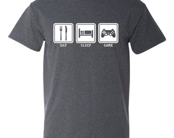 Eat Sleep Game Video Game Controller Funny Adult Mens T-Shirt