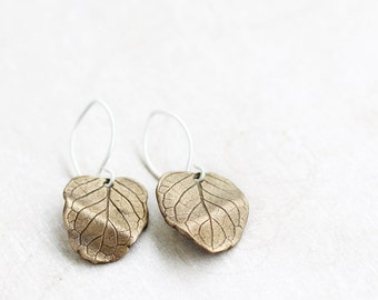 Bronze leaf earrings, bronze & sterling silver, mentha