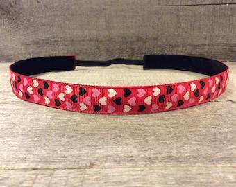 Red Hearts Nonslip Headband, Noslip Headband, Valentine's Headband, Workout Headband, Sports Headband, Running Headband, Athletic Headband