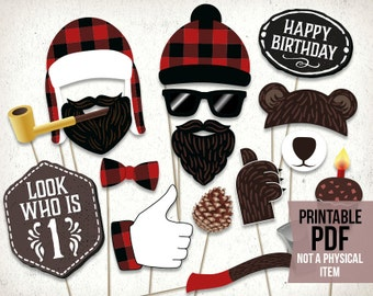 Lumberjack first birthday photo booth props : printable PDF. Lumberjack party printables. Lumberjack baby shower props. Party supplies.