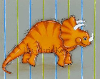 Dinosaur Wall Art Triceratops Dinosaur, Dinosaur Wall Art, Boys Room Art, Dinosaur Decor, 11x14 Dinosaur Playroom Art Lisa Marie Keys
