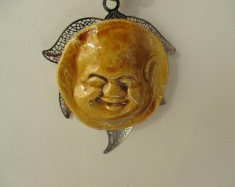 CERAMIC ART - Buddha mounted on a silver base - FRANCE pendant