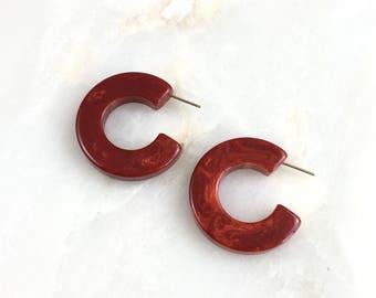 Vintage Red Marble Bakelite Hoops