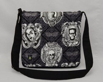 Frankenstein Dracula Mummy Medium Size Messenger Bag, Halloween Goth Bats, Tablet and Phone Zipper Pockets, Movie Monsters