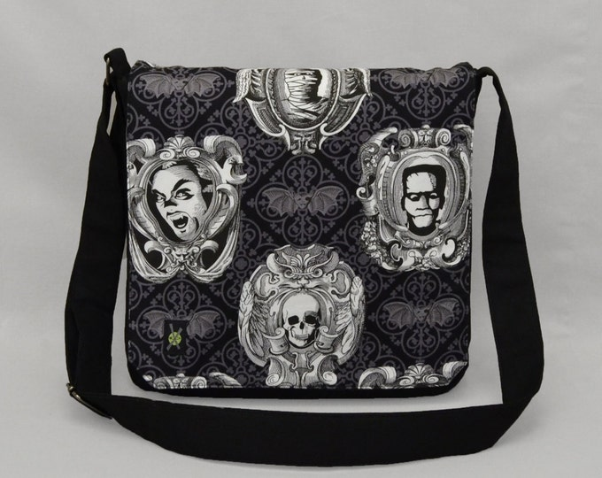 Frankenstein Dracula Mummy Medium Size Messenger Bag, Damask Bats, Tablet and Phone Zipper Pockets, Classic Movie Monsters