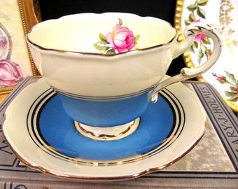 Paragon Tea Cup and Saucer Blue & Pink Rose Teacup Tall Shape