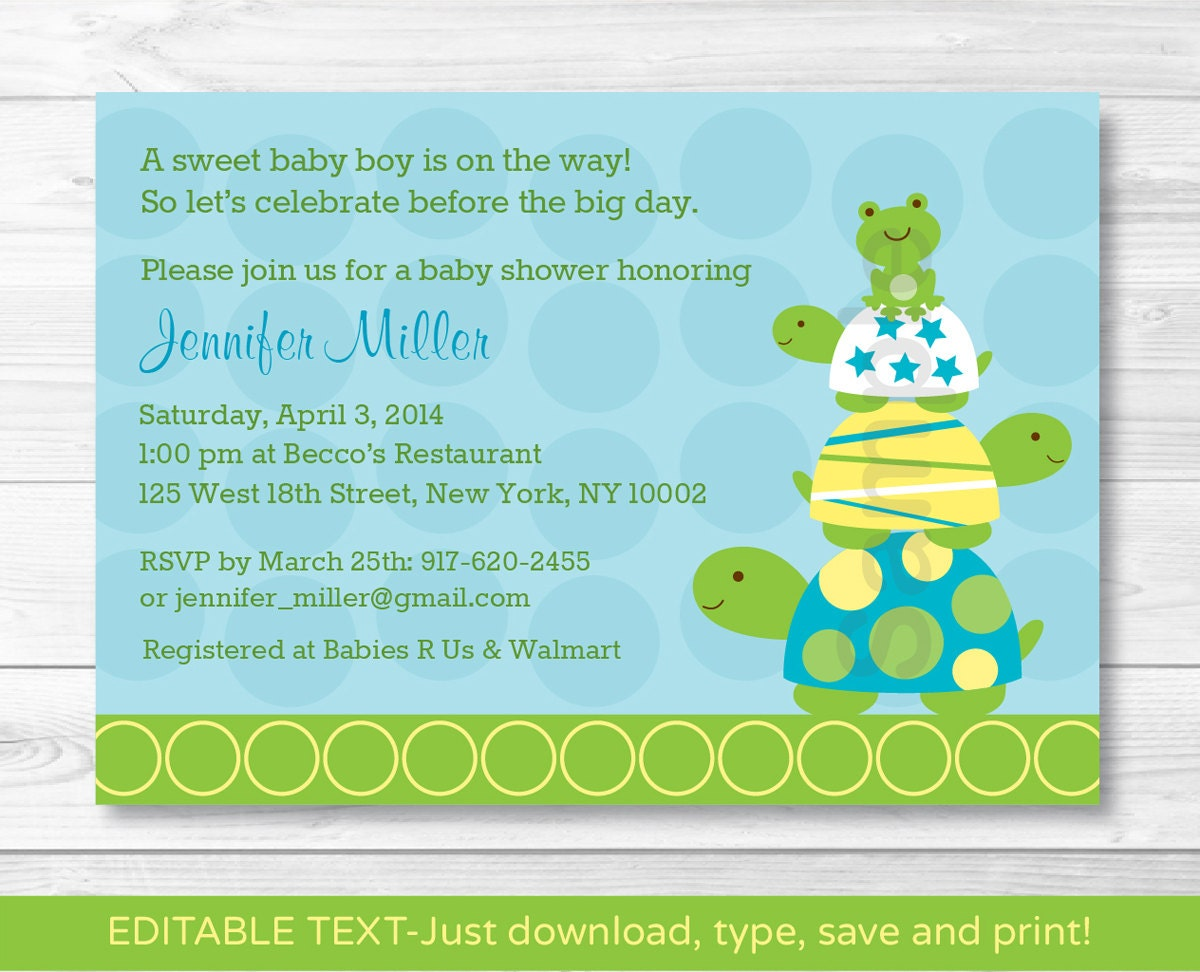 Cute Turtle Frog Baby Shower Invitation / Turtle Baby Shower