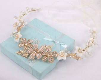 Casablanca  - Mother Pearl Flower, Rhinestone Flower, Rhinestone leaves and Crystal Bridal Hair Vine