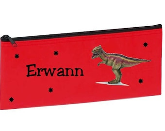 Red dinosaur personalized with name package