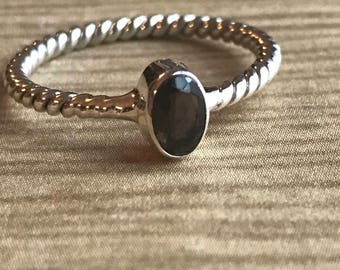 Silver Twisted Band Handmade Ring * Smokey Quartz Ring * Statement Ring * Stackable Ring * Thin Band * Organic