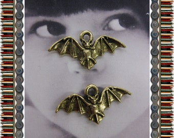 Antique Gold Patina Small Bat Pewter Charms  2182GOL x2