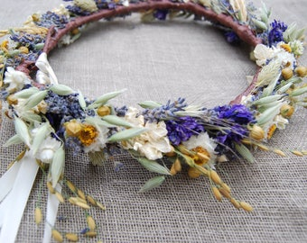 Wildflower Wedding Bridal Flower Crown Dried Lavender and Dried Flowers for Brides, Bridesmaids, Flowergirls